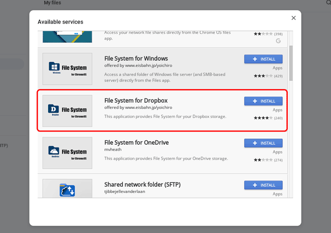 Installing File System for Dropbox on Chromebook