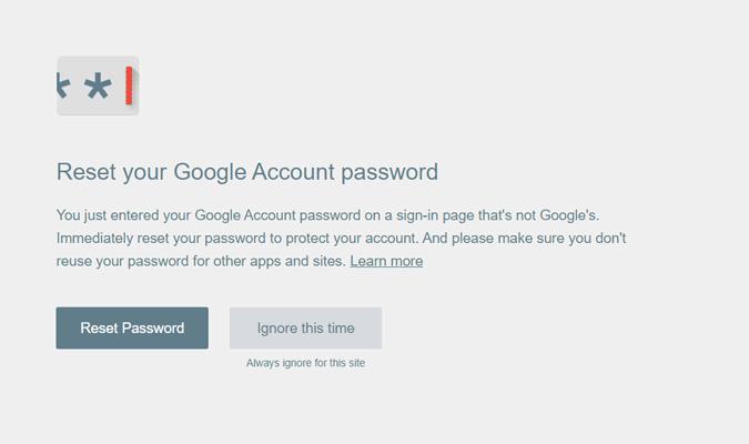 reset google account password