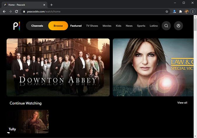 peacockTV-on-chrome-browser