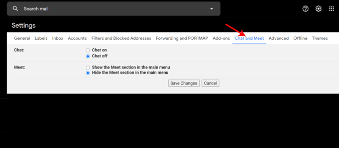 Disabling Chat and meet options in Gmail Settings