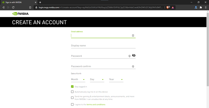 create-account-nvidia