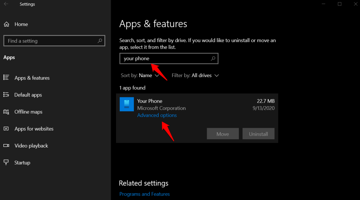 advanced options for your phone in windows