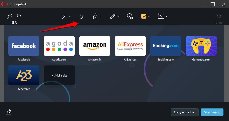 image editing toolbar in opera browser