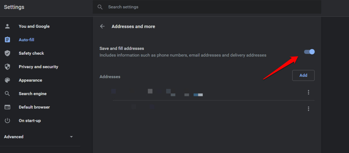 disable autofill in chrome browser