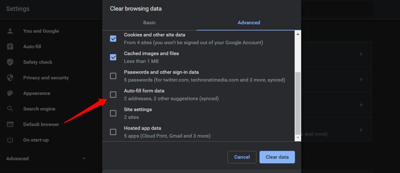 delete autofill data in chrome