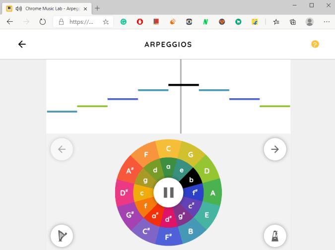 Arpeggios on Chrome Music Labs