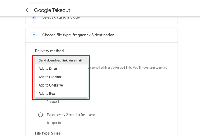 Choosing the download option in Google Takeout
