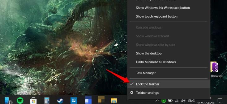 lock taskbar in windows 10