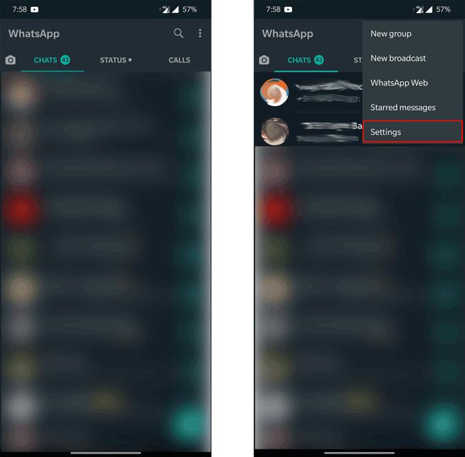 Opening Whatsapp Settings