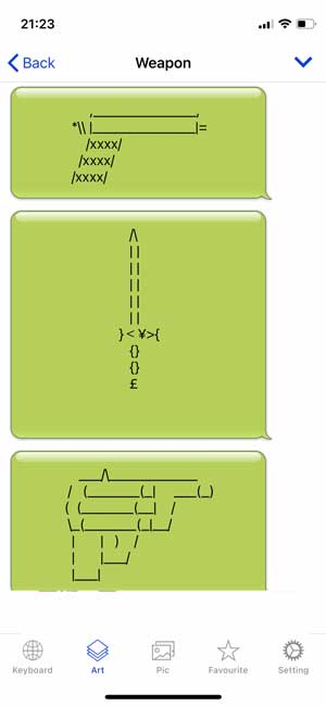 ascii emoji in green chat bubbles