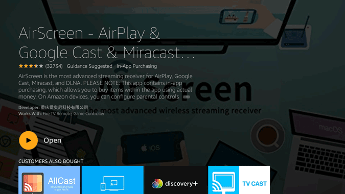 Opening the Air Screen App