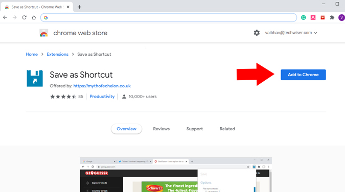 Add Save as Shortcut Extension to Chrome