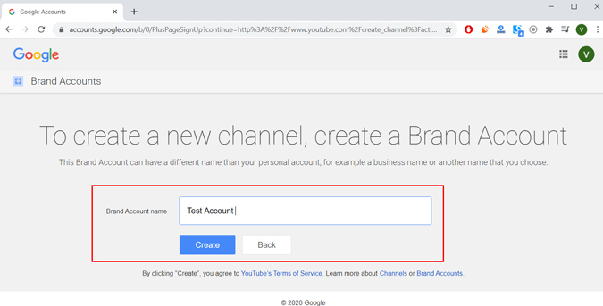 Write the channels name and click on create