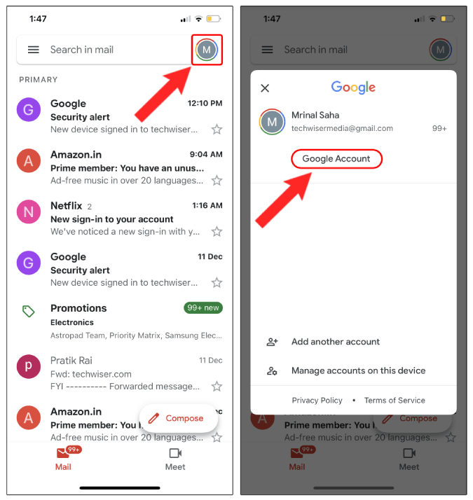 profile icon and google account in gmail