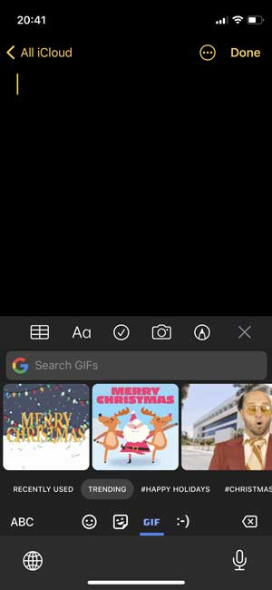 gboard gif section where you can search for any GIF from the internet