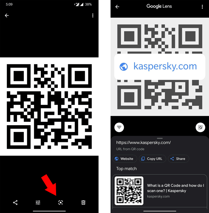 Scanning QR Code from Google Photos