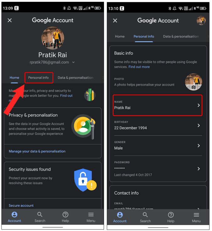name options in google account settings