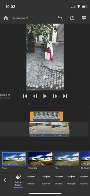 adobe premiere rush editing a vertical video with different color presets