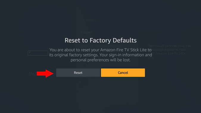 reset option in firestick