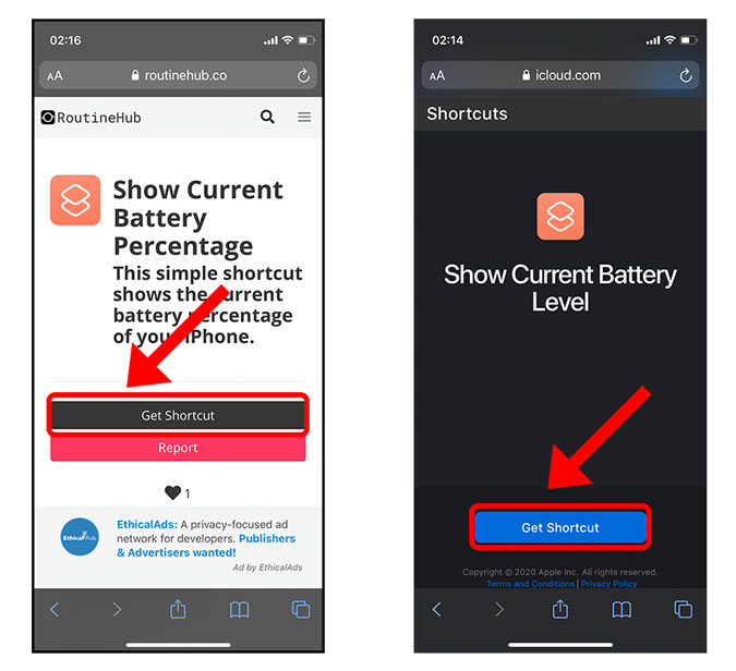 download show current battery level shortcut on iphone