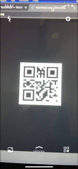 qr code reader with a history tab feature