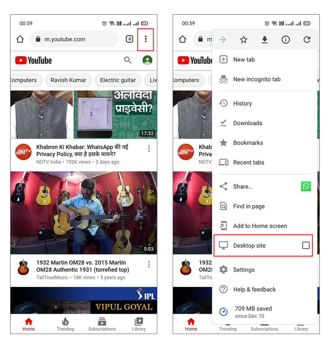 loading youtube in desktop view on mobile