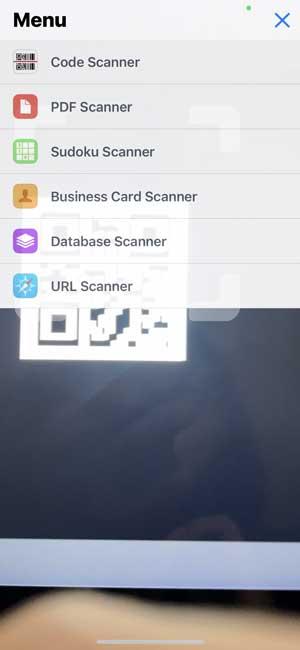 QR Code Reader app scanner options