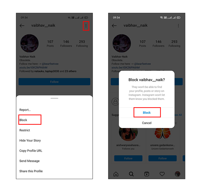 Block user option on Instagram