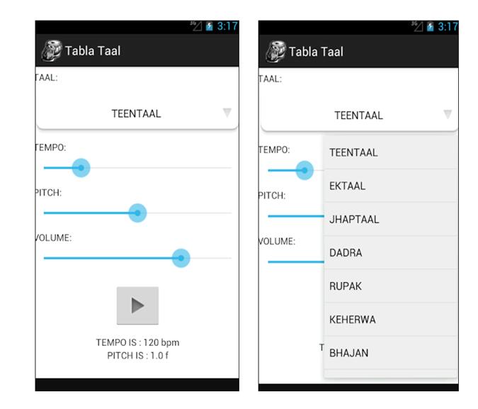Tabla Taal App Layout