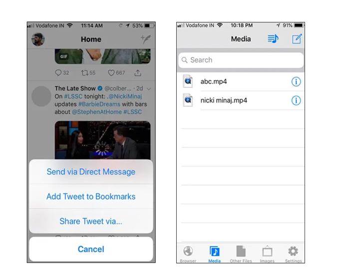 MyMedia app share tweet option