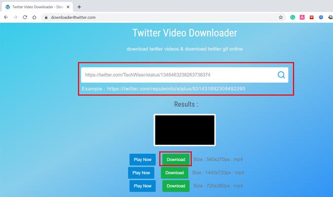 Online Twitter video downloader