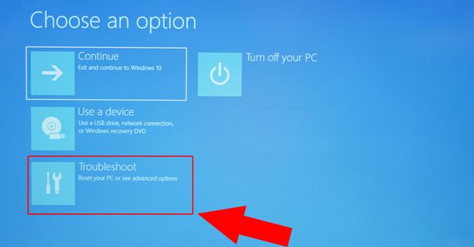 troubleshoot steps in windows 10 restart