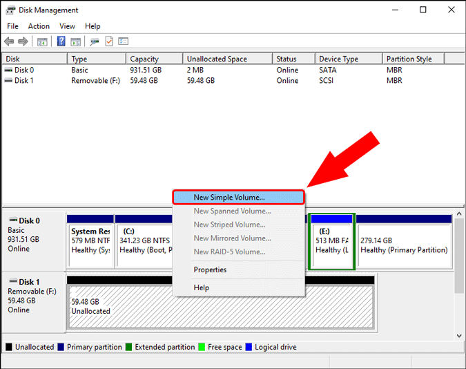 create new simple volume in disk management