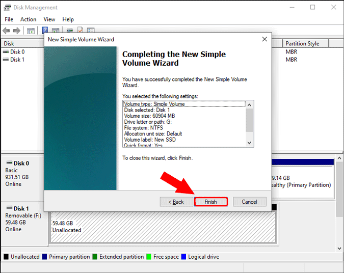 finish and create new volume summary windows 10