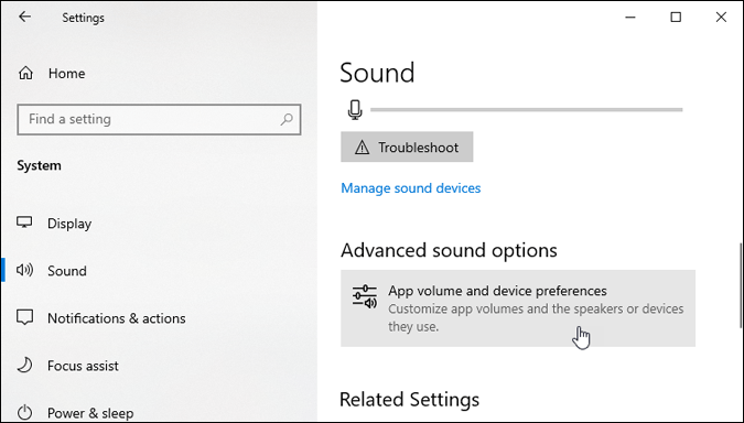 app volume and device preferences settings windows 10
