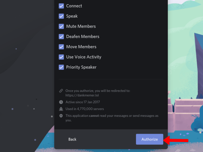 Authorizing the Discord Bot