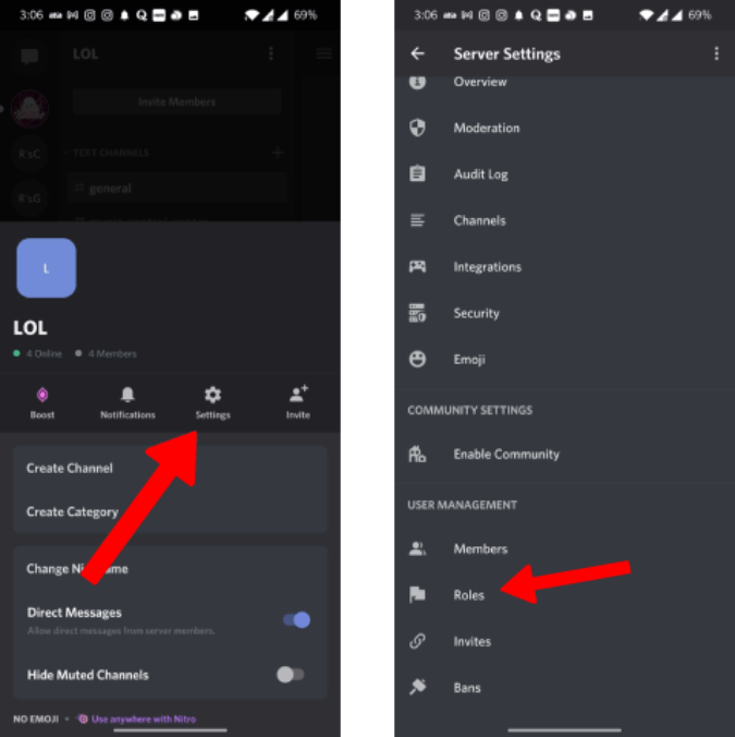 Opening Roles in Discord Server Settings