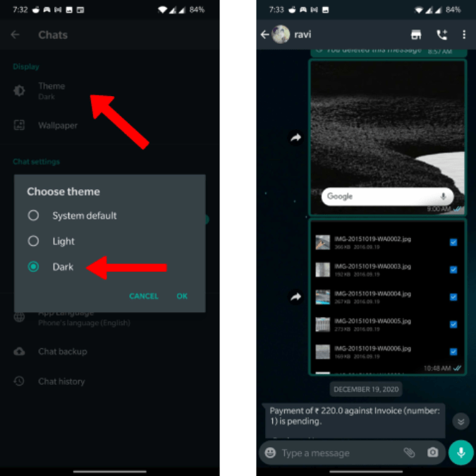 Enabling Dark Mode on WhatsApp on Android