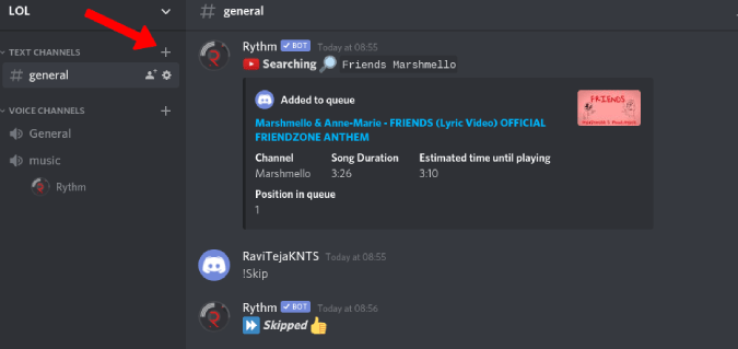 creating music text channel in discord