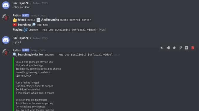 search lyrics using Rythm on discord
