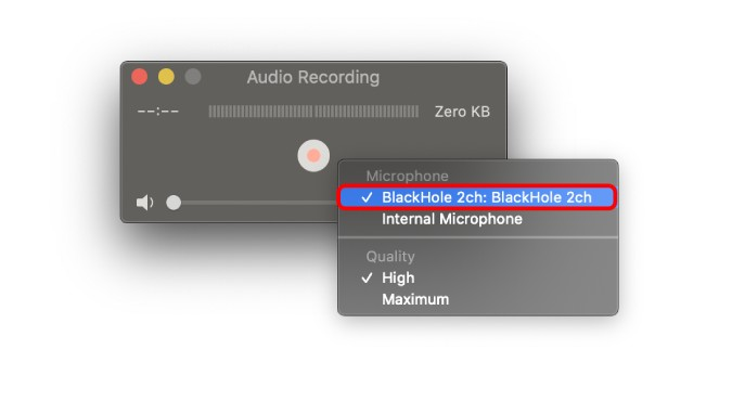 set blackhole as microphone device