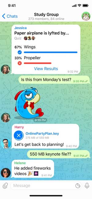 telelgram app chat window with stickers and conversations