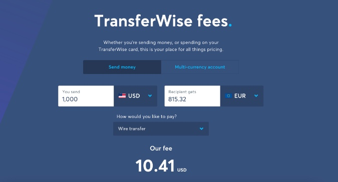 transferwise money transfer rate and fee