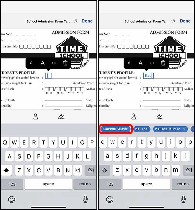 text field suggestions in adobe on iphone
