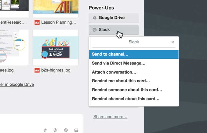 put cards in slack channels with slack power-up for trello