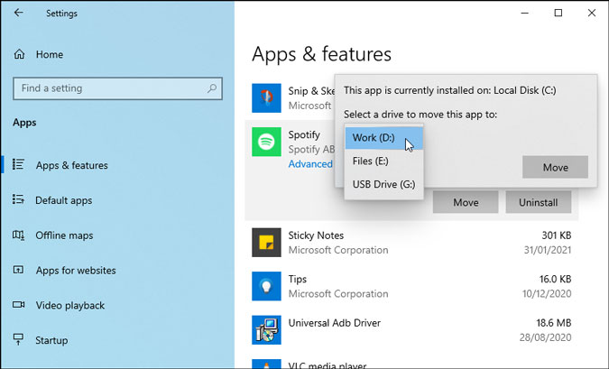 move microsoft store apps to another drive