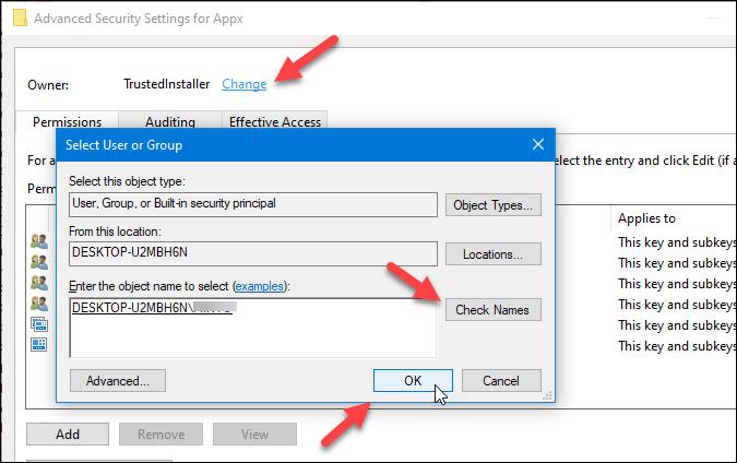 change registry key owner on windows 10
