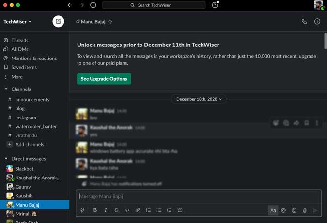 Upgrade option on Slack for Chat history