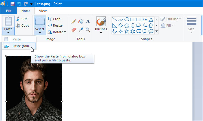 paste second image in paint on windows 10