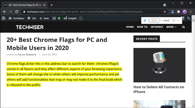 link to a specific webpage via chrome flag